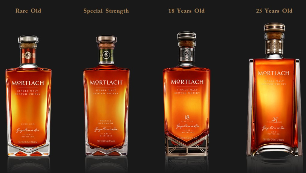 De fyra nya buteljeringarna från Mortlach. Dyrt ska det vara. Bildkälla: 2luxury2.com, en ren reklamartikel.
