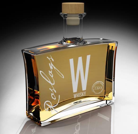 Roslags whisky Eko no 1. Stiligt flaska, men inte så stiligt innehåll. Tyvärr.