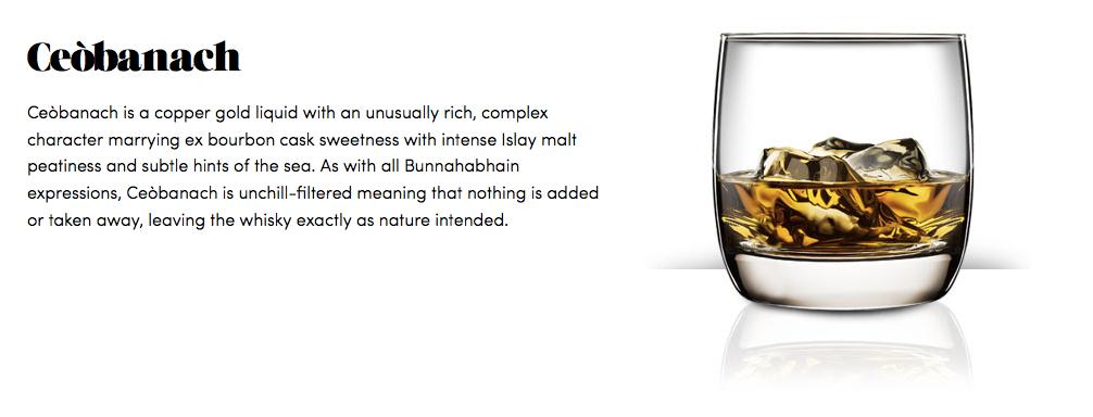 Från Bunnahabhains hemsida. Visst ska whisky kunna njutas på tusen sätt och vi ska alla vara lite öppnare för att experimentera, men isbitar? Really?