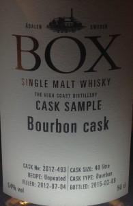 Sannerligen, sannerligen säger jag eder: Box är bäst på orökigt recept på bourbonfat. Detta är inte ens whisky –snartsky, som Frida Birkehede säger. Skitagott, asså!