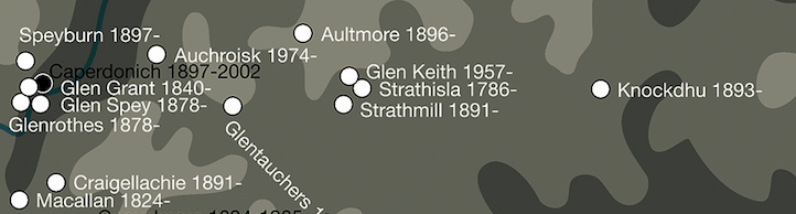Från Strathmill är det nära till mycket. Bildkälla som alltid The whisky map of Scotland 2016, under utgivning.