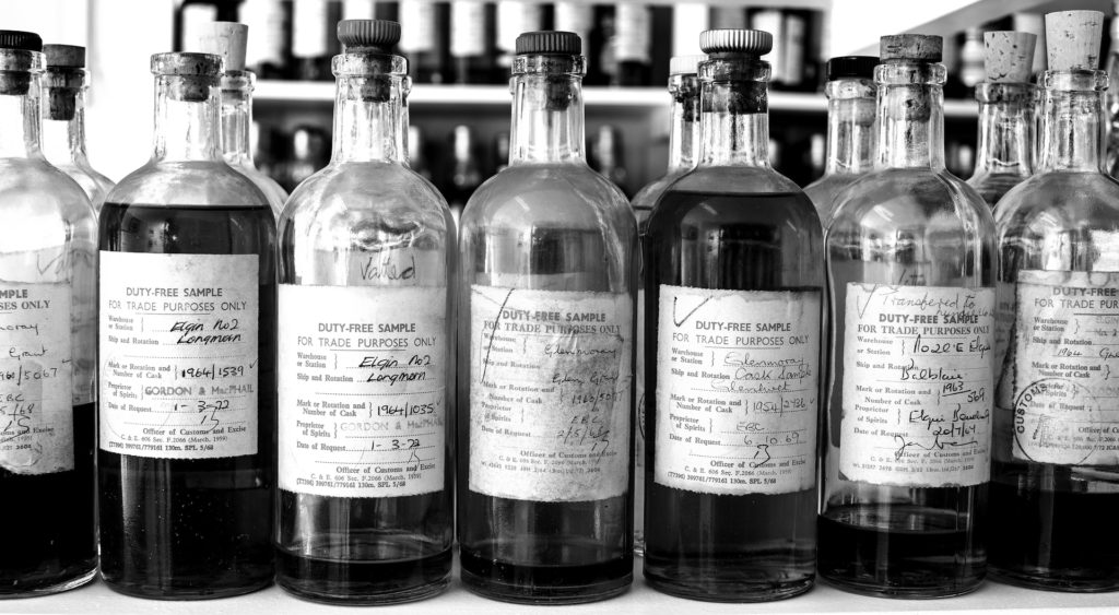 If ever there was such a thing as bottle porn, this is it: a wee example of the liquid library.