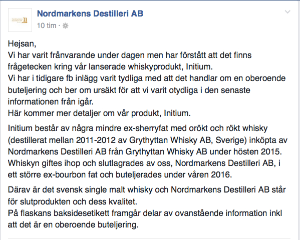 Ett klargörande från Nordmarkens destilleri.