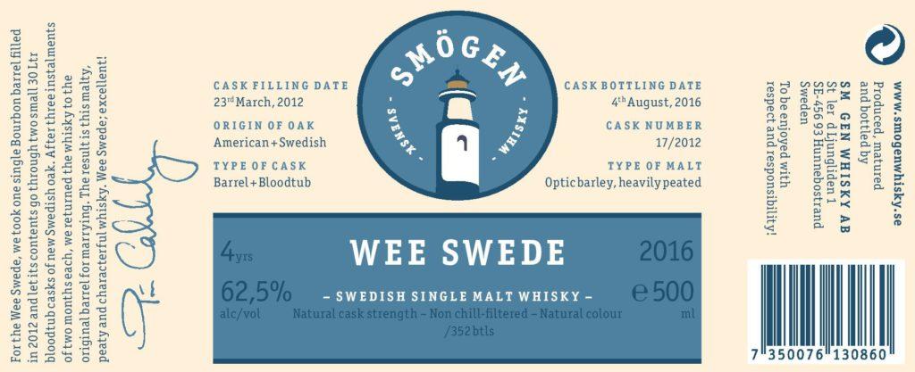 Etiketten för Wee Swede, som Pär Caldenby var vänlig nog att mejla mig. Så, bloodtub är SÅ små fat alltså? Alltid lär man sig något nytt!